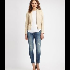 Vince Cropped Linen Jacket Blazer 4
